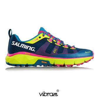 Chaussures trail femme TRAIL T5 bleu/fluo/jaune
