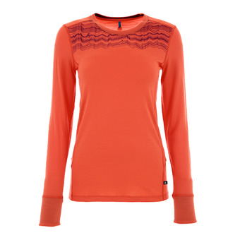 Camiseta mujer NATURAL MERINO hot coral/pickled beet
