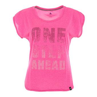 Camiseta mujer HELLE pink glo melange/train print fw17