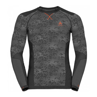 Camiseta térmica hombre BLACKCOMB EVOLUTION WARM black/odlo concrete grey/orangeade