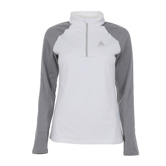 Sweat 1/2 zip femme PAZOLA white/grey melange