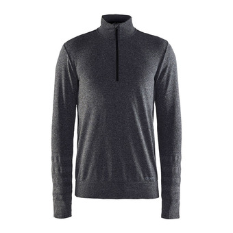 Sweat 1/2 zip homme SMOOTH noir/chiné
