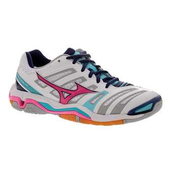 Chaussures indoor femme WAVE STEALTH 4 white/pink glo/blue radiance