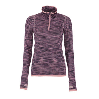 Maillot ML 1/2 zip femme WOOL fine grey/ coral