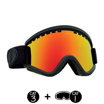 Masque de ski EGV matte black/brose-red chrome + light green - 2 écrans