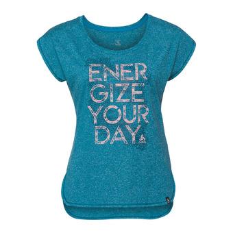 Camiseta mujer HELLE crystal teal melange/placed print ss18