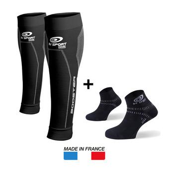 Manchons de compression BOOSTER ELITE noir + Socquettes LIGHT ONE noir