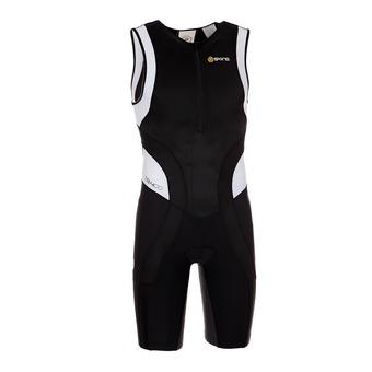Combinaison de triathlon zip avant homme TRI400 black/white