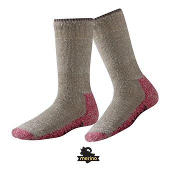 Chaussettes de randonnée femme MOUNTAINEERING EXTRA HEAVY CREW taupe/bright pink