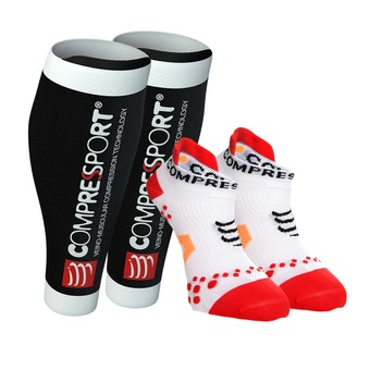Pack manchons R2 V2 Black + socquettes RACING V21 RUN LO white/red