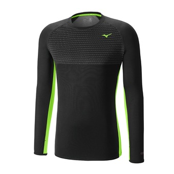 Maillot ML homme BREATH THERMO BODY MAPPING CREW black/green gecko