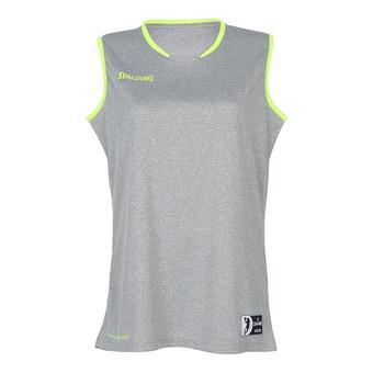 Camiseta mujer MOVE gris oscuro jaspeado/amarillo flúor