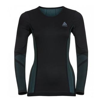 Odlo PERFORMANCE WINDSHIELD XC LIGHT - Camiseta térmica mujer black/blue radiance
