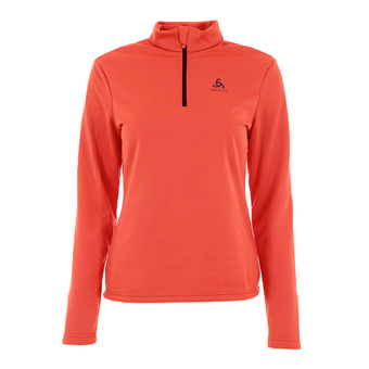 Sweat 1/2 zip femme HARBIN hot coral