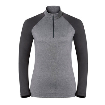 Sweat 1/2 zip femme PAZOLA grey melange/odlo graphite grey