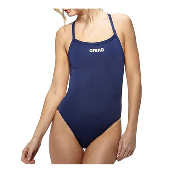 Arena SOLID LIGHT TECH HIGH - 1-Piece Swimsuit - Women's - navy/white