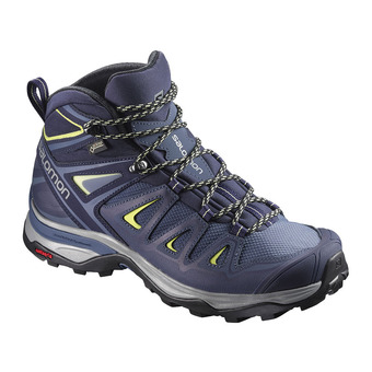 Salomon X ULTRA 3 MID GTX - Zapatillas de senderismo mujer crown blue/evening b/snny lime