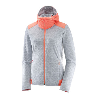 Chaqueta mujer ELEVATE white/fluo coral