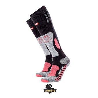 Calcetines con elemento calefactor mujer POWERSOCKS HEAT negro/rosa