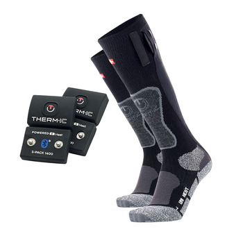 Chaussettes chauffantes POWERSOCKS noir/gris + batteries Bluetooth® 1400