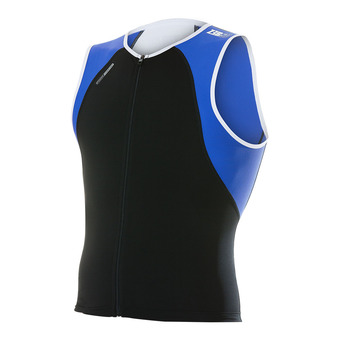 Maillot trifonction zippé sans manches USINGLET black/blue/white