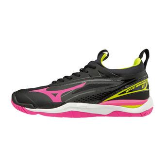 Mizuno WAVE MIRAGE 2 - Handball Shoes - Women's - black/pinkglo/syellow