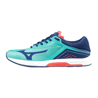 Mizuno WAVE SONIC - Zapatillas de running mujer turquoise bluedept/fcora