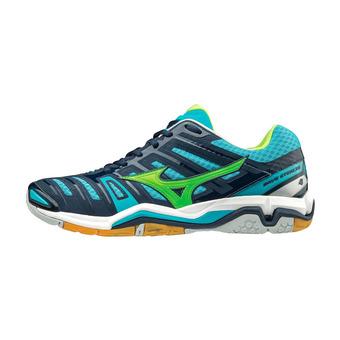 Zapatillas de balonmano hombre WAVE STEALTH 4 blue/green/blue
