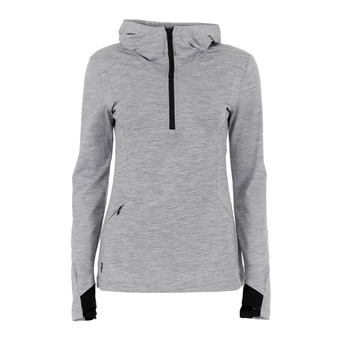 Sweat 1/2 zip femme CIVIL med grey melange