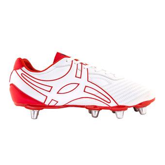 Gilbert SIDESTEP V1 BASSE - Crampons rugby Homme blanc/rouge