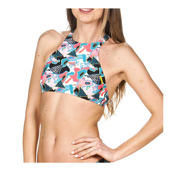 Top de bikini mujer CROP THINK black/multi
