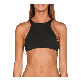 Arena CROP THINK - Top de bikini mujer black/yellow star