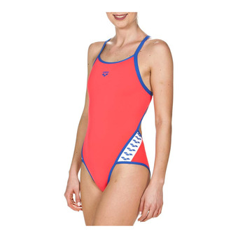 Maillot de bain 1 pièce femme TEAM STRIPE fluo red/royal