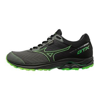 Mizuno WAVE RIDER GTX - Running Shoes - Men's - gunmetal/black/green slime