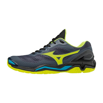 Mizuno WAVE STEALTH V - Zapatillas de balonmano hombre ombre blue/safety yellow/black