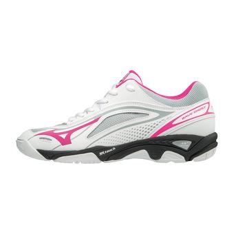 Mizuno WAVE GHOST - Zapatillas de balonmano mujer white/pink glo/black