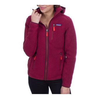 Sweat à capuche zippé polaire femme RETRO PILE arrow red