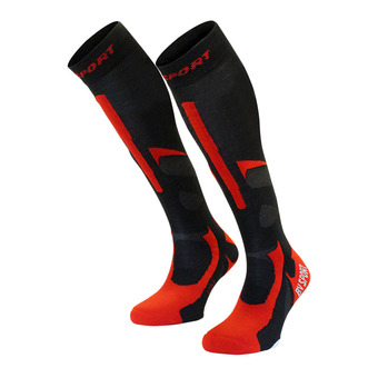 Bv Sport SLIDE PRO EVO - Calze nero/rosso