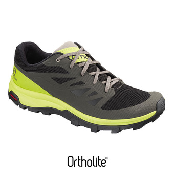 Salomon OUTLINE - Zapatillas de senderismo hombre beluga/lime green/vintage