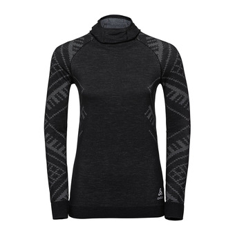 Odlo NATURAL + KINSHIP WARM - Camiseta térmica mujer black heather
