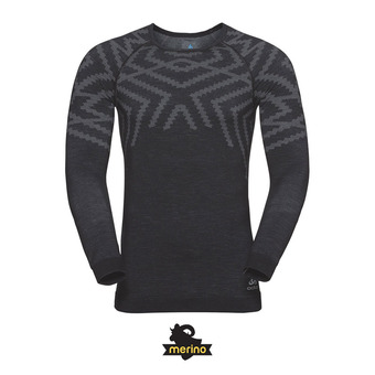 Odlo NATURAL KINSHIP WARM - Camiseta térmica hombre black heather