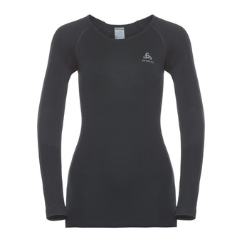 T-shirt ML PERFORMANCE WARM Femme black - odlo concrete grey