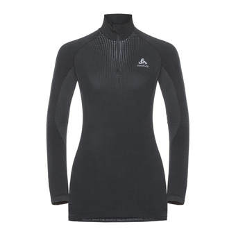 T-shirt ML 1/2 zip PERFORMANCE WARM Femme black - odlo concrete grey