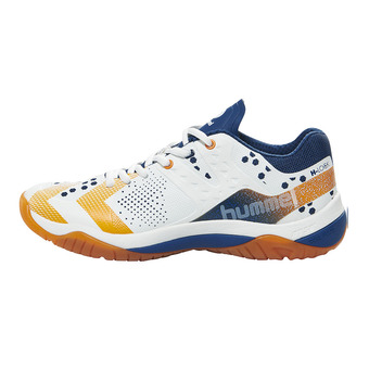 Hummel DUAL PLATE POWER - Zapatillas de balonmano hombre white/poseidon/orange popside
