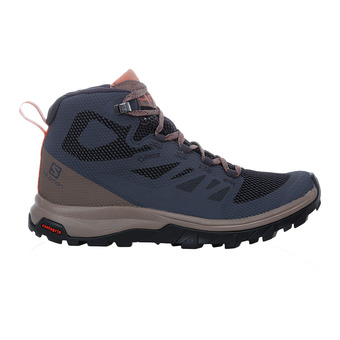 Salomon OUTLINE MID GTX - Zapatillas de senderismo mujer ebony/deep taupe/tawny orange