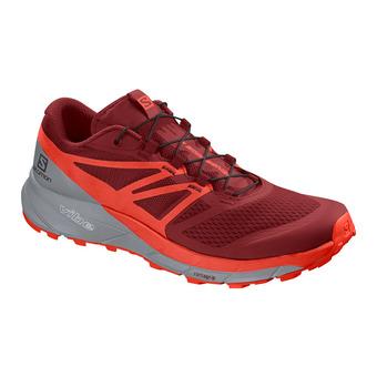 Salomon SENSE RIDE 2 - Trail Shoes - Men's - rd dahlia/cherry to/quarry