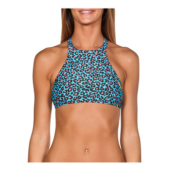 Arena CROP THINK - Top de bikini mujer turquoise/multi black