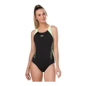 Speedo BOOM SPLICE MUSCLEBACK - 1-Piece Swimsuit - Women's - black/yellow
