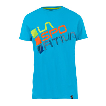 La Sportiva SQUARE - T-shirt Uomo tropic blue/apple green