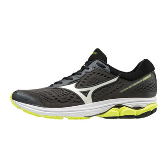 Mizuno WAVE RIDER 22 - Running Shoes - Men's - dark shadow/white/safety yellow